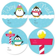 Holly Jolly Penguin - Want Need Surprise Holiday Party Gift Tag Circle Stickers - Set of 4 *** Check this awesome image : Christmas Gifts Christmas Gift Tags, Holiday Gifts, Christmas Holidays, Surprise Gifts, Party Gifts, Holiday Parties, Penguins, Stickers, Party Online