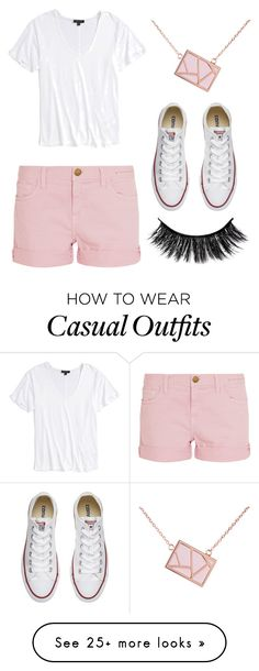 """""""Blush pink casual"""" by small-as-an-elephant on Polyvore featuring Current/Elliott, Topshop, Ona Chan and Converse"""