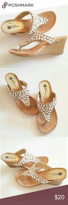 Beautiful beaded wedges These wedges are very light in weight and comfortable. Worn less than 3 times and in excellent condition. Shoes Wedges