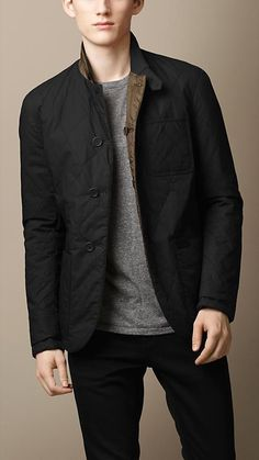 Burberry Brit Reversible Military Quilt Blazer
