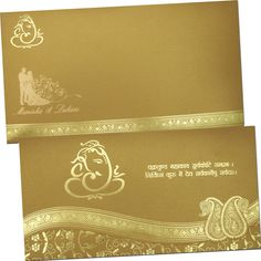 Shimmery Finish Paper With Gold Color Foil Printing – A classic Choice for Hindu wedding card