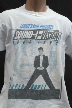 Vintage 1990 90s David Bowie Sound + Vision Tour T-Shirt Rock tee men's L #GraphicTee
