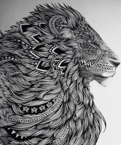 Different take on the standard lion head type of idea. More detailing and line work but has a more feminine appeal I think. #lion tattoo, #tattoo,