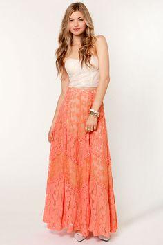Bohemian Peach Skirt - Lace Skirt - Maxi Skirt - $98.00