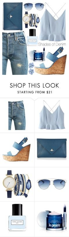 """Shades of Denim"" by ayiarundhati ❤ liked on Polyvore featuring Levi's, WithChic, Bamboo, Vivienne Westwood, A.X.N.Y., Christian Dior, Marc Jacobs and La Prairie"