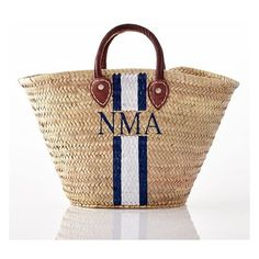 Handpainted Straw Beach Bag (205 CAD) ❤ liked on Polyvore featuring bags, handbags, beige handbags, monogrammed bags, beach bag, monogrammed purses and straw bags