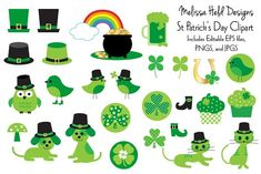 St Patricks Day Clipart, St Patricks Day Cards, Leprechaun Hats, Green Beer, Digi Stamps, Graphic Illustration, Illustrations, Scrapbook Paper, Holiday Cards