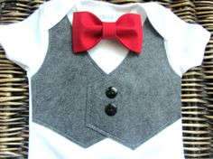 Baby Boy Clothes  Baby Bow Tie With Vest Onesie  by SewLovedBaby, love it.