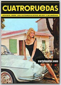 Old Car Ad - El Renault Florida / Caravelle con Brigitte Bardot. Portada de 4R de 1963. Encontrado en www.cartelmotor.com