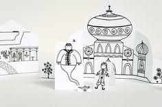 Imprimble ara recortar y pintar. La ciudad de Aladdin >> Made by Joel » Aladdin Paper City Craft Project!