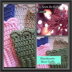Handmade boot cuffs! ☃ Handmade! Crochet boot cuffs made to be shipped the next business day. I will make any size and any color and any style u desire. Perfect holiday gift! ☃ Handmade Shoes