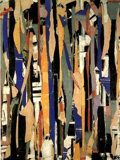 Lee Krasner ~ City Verticals, 1953 (oil, paper, collage) - fascinating shapes and lovely colors - Collage Kunst, Art Du Collage, Canvas Collage, Collage Artists, Contemporary Abstract Art, Modern Art, Contemporary Artists, Lee Krasner, Franz Kline