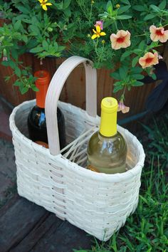 AWESOME ETSY LISTING* at http://www.etsy.com/listing/80294251/ ☆★WINE TOTE BASKET HANDMADE BY JASPER JANE (OUT OF THE WOODS)☆★