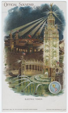 Electric Tower, official souvenir mailing card, Gies & Co., lithographers, 1901. Pan-American Exposition.
