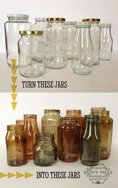 Mason Jars Get Creative with these 44 DIY Mason Jar Crafts of the BEST Upcycled Furniture Ideas 32 Mason Jar Crafts You Can Diy Projects To Try, Crafts To Do, Diy Projects Painting, Decor Crafts, Easy Crafts, Easy Diy, Ideias Diy, Bottles And Jars, Small Glass Bottles