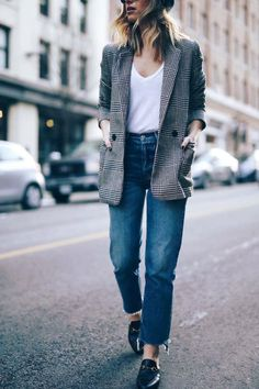 Plaid blazer jacket, white t-shirt, jeans, loafers