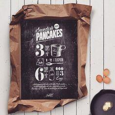 """Poster """"Pancakes"""" 50x70 cm, 550kr #inredning #heminredning #poster #inredning #affisch #american #tavelvägg #finahemföretag #kök #inspirasjon #inspohome"""