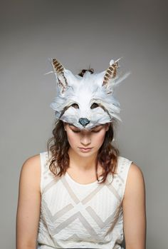Bespoke Feather Fox Mask White Fox Mask Snow Fox by CuriousFair