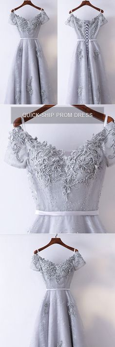 Only $118, Prom Dresses Special A Line Grey Long Prom Dress With Short Sleeves #MYX18052 at #GemGrace. View more special Bridal Party Dresses,Prom Dresses now? GemGrace is a solution for those who want to buy delicate gowns with affordable prices, a solution for those who have unique ideas about their gowns. 2018 new arrivals, shop now to get $10 off!