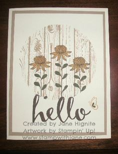 Stampin\' Up! Hardwood background stamp, Flowering Fields Sale-A-Bration stamp set, Hello Sale-A-Bration stamp set, Circles Framelit, masking techniques, stamped cards, stamping, masked backgrounds, quick and easy cards, Spring cards, thinking of you cards, get well cards, www.stampwithjane...