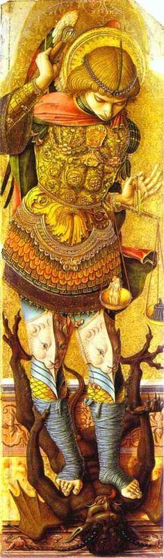 Crivelli- St. Michael     LAS ELEGANTES FIGURAS DE ESTE PINTOR  circa 1476...son siempre de lo mas bonito del Renacimiento italiano