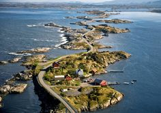 Completed in 1989, the Atlantic Road is a 5.2-mile section of County Road 64 that runs through an archipelago in Eide and Averøy in Møre og Romsdal, Norway. The route is built on several small islands, which are connected by eight bridges.