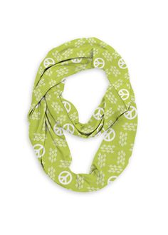 Infinity Eco Scarf - Retro Peace Sign in Brown/Green/White by VIDA Original Artist