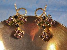 Peridot and Amethyst Rhinestone Earrings by Violasvintages on Etsy, $30.00