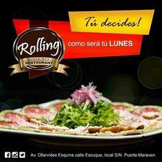 Tú decides! como será tú #lunes disfruta almorzando en @rolling_rest #Rolling #Restaurant #marketing #Coctails #Cocteleria #tendencia #Publicidad #Drink #Lunch #Food #Gourmet #puntofijo #foodie #almuerzo #almuerzoejecutivo #Like4like #nuestraciudad