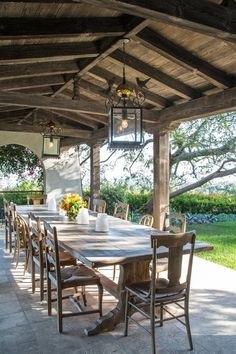 Antique Mexican Street Lanterns with Bird motif hang above the rustic farm table in this outdoor dining area in Bel Air. Outdoor Rooms, Outdoor Dining, Outdoor Decor, Outdoor Kitchens, Outdoor Ideas, Dining Area, Dining Room, Barbacoa Jardin, Rustic Farm Table