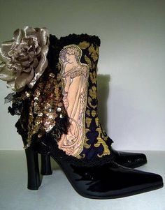 """lovetowear: """"Black boots with Mucha art nouveau print and gold brocade pattern with rose and sequin embellishment. Mucha Golden Girl Spats by ~MAIDESTREASURIES on deviantART """" Great shoes Steampunk Spats, Steampunk Costume, Steampunk Fashion, Victorian Fashion, Victorian Hats, Gothic Steampunk, Spats Shoes, Shoe Boots, Vintage Gowns"""