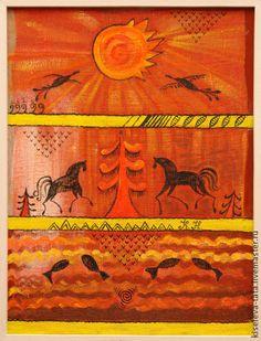 Картина коллаж.Солнечное царство.Коллаж размер 60 х 80 - картина картина