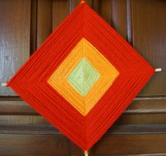 ojo de dios - god's eye - yarn mandala - mexican fiber art - hello spring mini sign - farmhouse- Decor Front Door - flower - driftwood art by SiriusImagination on Etsy