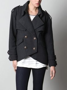 Smythe double breasted wool military style coat