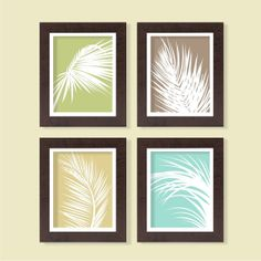 Palm Leaves   Color Block   Set Of 4   8x10   Tree Botanical Nature Green  Instant Download Digital Printable Home Living Room Decor Wall Art
