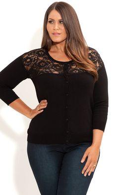 City Chic - LACE INSERT CARDI - Women's plus size fashion