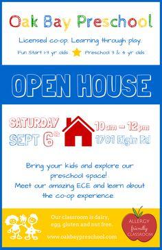Oak Bay Preschool Open House September 6th!