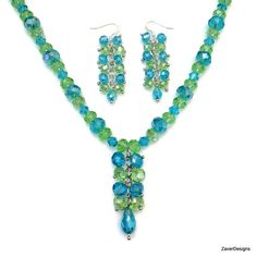Blue and Green Crystal Jewelry Set Crystal by ZaverDesigns on Etsy