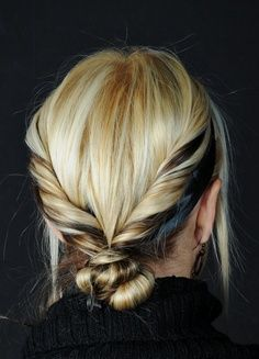 Hair, Makeup + Nails >> The two tone twisted back knot.