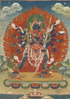 A Thangka depicting Chakrasamvara and Vajravarahi  Tibet, 19th Century