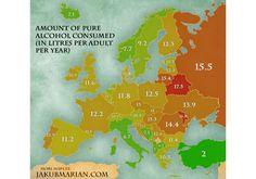 Ilość czystego alkoholu spożywanego w ciągu roku w poszczególnych krajach Europy (w litrach na jednego dorosłego mieszkańca).
