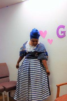 African Print top + Stripe Pleated Skirt