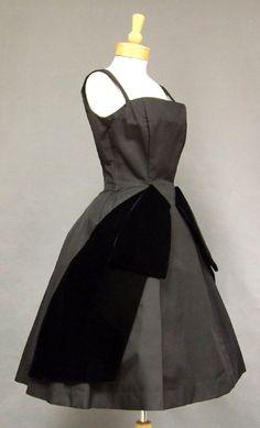 GiGi Young Black Faille & Velvet 1950's Cocktail Dress