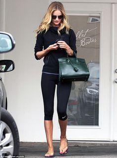 Rosie Huntington-Whiteley.. Nike Sportswear Tech Fleece Hoody, Nike Pro Capri II Black, and Havaianas Flip Flops Slim..