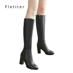 01169fff60f Women s Fashion Boots Knee High Slim Boots Solid Color Riding Boots Women  Elegant Side Zip Comfortable