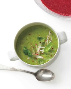 If you use very cold ingredients (about 30 minutes in the refrigerator should do it), your blended soup will chill more quickly.