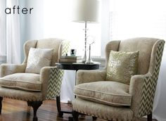 Reupholstered wingback chairs at Design*Sponge