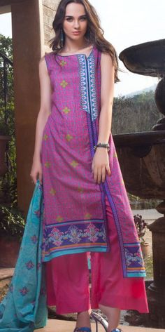 Lilac Cotton Lawn Salwar Kameez Dress $49.99 DESIGNER LAWN 2014 Pakistani Indian Dresses Online, Men Women Clothing and Shoes | PakRobe.com