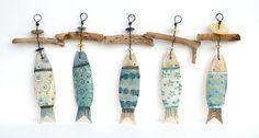 Ceramic Fish And Driftwood Hangers - CoastalHome.co.uk