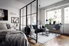 80 Stylish Apartment Studio Decor and Furniture Ideas - wholiving Tiny Studio Apartments, Studio Apartment Layout, Studio Apartment Divider, Studio Layout, Apartment Therapy, Apartment Bedroom Decor, Studio Apartment Decorating, Apartment Ideas, Cozy Apartment
